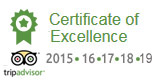Trip Advisor Certificate of Excellence winner, 2015, 2016, 2017